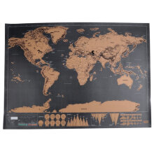 [kingstore] Black World Big Scrape Off Map Personalized Travel Vacation Cool Family Gift Black