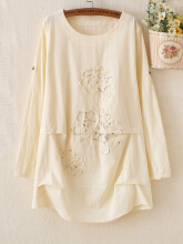 Women Embroidered Pure Color Long Sleeve T-shirts Beige One Size
