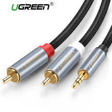 UGREEN RCA Audio Cable 2RCA Male to 3.5mm Jack to 2 RCA AUX Cable Nylon Braided Splitter Cable for Home Theater