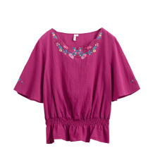 INMAN 1882012147 Blouse Lotus Sleeve Women Pullover Embroidery Blouse