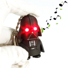 AD 2pcs Led Sound Figure Toys Flashlight Keychain -One Size -Black Warrior