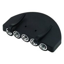[COZIME] 5 LED Fishing Camping Head Light HeadLamp Cap With Clip for Outdoor Activities black
