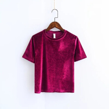 Jantens Summer 2018 Autumn women Sexy velvet color fashion short sleeve t-shirt