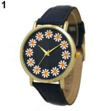 Farfi Women Chrysanthemum Round Dial Faux Leather Analog Quartz Wrist Watch
