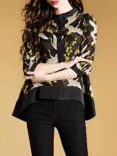 Vintage Others Birds Print Patchwork Irregular Blouses For Women Black M