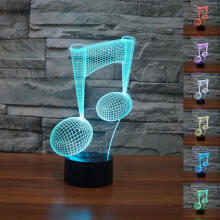 Farfi Musical Note Shape 3D Visual Night Light Touch Type LED Lamp Black Base