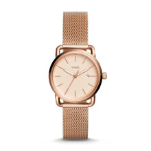 Fossil The Commuter 3H Date - Rosegold Round Dial 34mm - Stainless Steel - Rosegold - Jam Tangan Wanita - ES4333