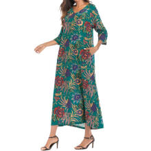 Women 3/4 Sleeve Thin Cotton Loose Long Bohe Pockets Dress Floral Kaftan M_M