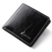 L'ALPINA 663052176 Men's leather Cowhide two fold horizontal section leather card holder wallet multi-function wallet-Black