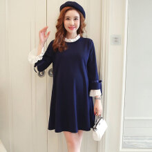 [OUTAD] Fashion Dress Long Sleeved Pregnant Woman Elegant Loose Casual Wear Navy Blue M