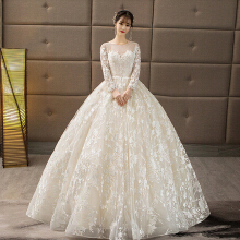 Xi Diao Luxury Lace Long Sleeve Floor Length Women Wedding Dress