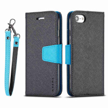 DELIVE iPhone 6/6s Luxury Leather Phone Cover  Fashion Patchwork Cover Strap Soft Flip Wallet Case
