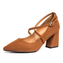 Aokang 2018 184112019 ladies Genuine leather flock material Fashion Women shoes female High Heel Women's Leisure brown