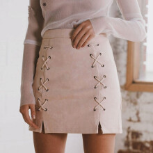 Simplee autumn lace leather suede pencil skirt winter cross high waist skirt female