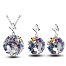 Anamode Czech Crystal Pendant Necklace Sweater Chain Butterfly Jewelry Earrings Sets -Colorful