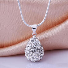 Farfi Women's Shiny Silver Plated Rhinestone Water Tear Drop Necklace Pendant Chain as the pictures