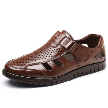 Zanzea Men Leather Hollow Out Breathable Hook Loop Sandals Brown