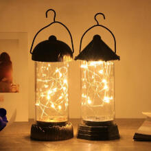 Farfi LED Light Filament Desktop Table Lamp Lantern Home Garden Hanging Holiday Decor Random Color