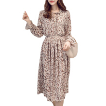 Jantens Chiffon long dress with trumpet long sleeve casual women dress fashion floral print