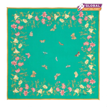 Jim Thompson - Floral Butterflies Silk Napkin - Turquoise - PSB9590F