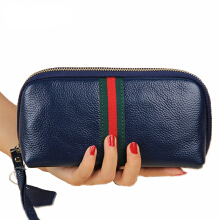 Jantens Female bag storage box wallet zipper purse wallet leather Navy Blue
