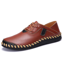 Zanzea Large Size Men Shoes Genuine Leather Lace Up Hand Stitching Casual Oxfords
