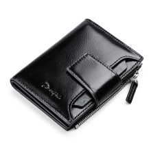 jantens   Genuine Leather Men Wallets Short Coin Purse Small Vintage Wallet Cowhide Leather Card Holder Pocket Purse black