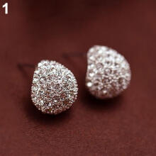 Farfi Fashion Women's Korean Style Crescent Moon Rhinestone Shining Stud Earrings