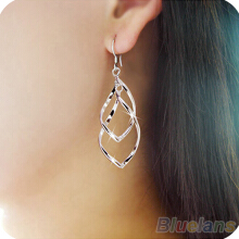 Farfi Women Elegant Spiral Silver Plated Dangle Hook Party Earrings Fashion Jewelry