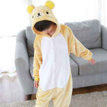 SESIBI Size 100~140 Kids Cartoon Clothes Parent-Child Homewear Siamese Pajamas Suit -Little Bear -