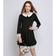 Bestielady N1396 Plus Size Lace Hem Long Sleeve Dress