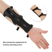 Jantens PU Adjustable Arm Guard Protector Protective Equipment 3 Straps For Archery Black