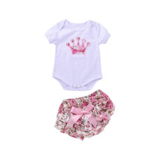 [COZIME] 2pcs Embroidered Crown Short Sleeve Bodysuits Romper Jumpsuit with Mini Pants White1  S