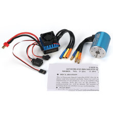 COZIME SurpassHobby 3650 3100KV Sensorless Motor + 60A Brushless ESC for RC Car Boat Blue