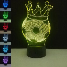 Jantens Crown Football 3D Night Light Creative Party Touch Control USB LED Desk Lamp 7 Colors Change Colorful