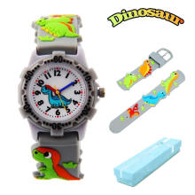 Keymao Dinosaur Waterproof 3D Cute Cartoon Silicone Wristwatches Gift for Little Girls Boy Kids Children Grey