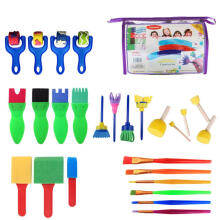 Farfi 2Wooden Sponge Brushes Paintbrush Drawing Painting DIY Kids Toys as the pictures
