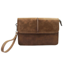 SiYing Imported original Casual men's clutch bag pu leather men's bag Brown