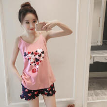 Farfi Women Cartoon Hearts Elephant Print Summer Sleeveless Sleepwear Vest Tee Shorts