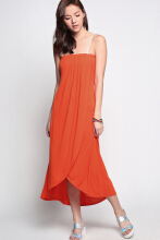 LOVE BONITO Adreya Asymmetrical Tube Dress - Orange