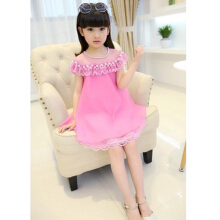 SiYing Fashion Girls Summer Pearl Dress Lace Chiffon Princess Dress