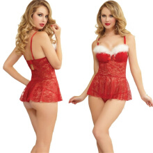 Fashion Women Santa Christmas Sexy Lingerie Red Babydoll Chemise Set Fancy Dress TB Red