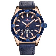 NAVIFORCE 9118 Luxury Brand Men's Quartz Watches Men Fashion Casual Leather Sports Watch Man Date Clock Blue