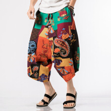 Zanzea Men's Casual Ethnic Style Printed Cotton Harem Pants Sumemr Breathable Loose Wide Leg Trousers