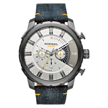 Diesel DZ4345 Stronghold Men Silver Dial Blue Denim Cloth Strap [DZ4345]