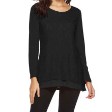 BESSKY Womens Casual Long Sleeve Tops Lace O Neck T Shirt Blouses Tunic Blouse Shirts_