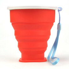 Semua-Store Stainless Steel Silicone Folding Cup With Lanyard Tooth Mug With Cover Lid Red 9*8*4.5CM