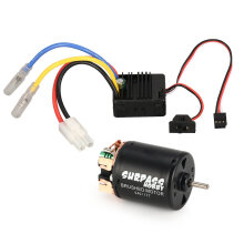 COZIME 540 17T Brushed Motor 60A ESC with 5V/2A BEC for 1/10 Off-road RC Racing Car Black
