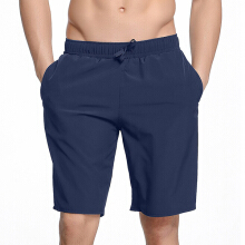 Zanzea Quickly Dry Solid Color Beach Loose Hot Spring Long Board Shorts for Men Dark Blue XXXL