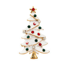 [COZIME] Multicolored Christmas Tree Brooch Delicate Alloy Crystal Rhinestone Pin Mainly White